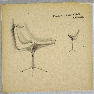 Design for blow-molded, foam-filled chair. At left, perspective shows jet-age pedestal chair; seat features low back and slightly reclined cant with slightly rounded edges and corners resting atop a metal base supported by either three or four long feet. At upper right, smaller elevation shows distinction between base and seat components. Stapled to additional drawings.