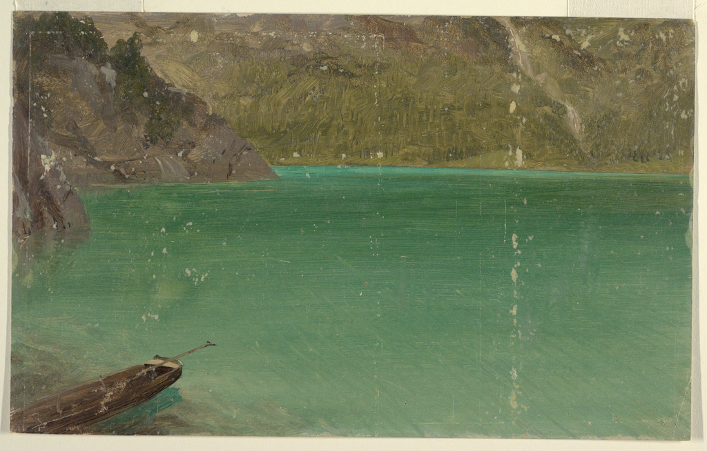 Horizontaldrawing of  the border of an Alpine lake, possibly  the Koenigsee near Berchtesgaden, Bavaria. A rowboat is moored in the left foreground.