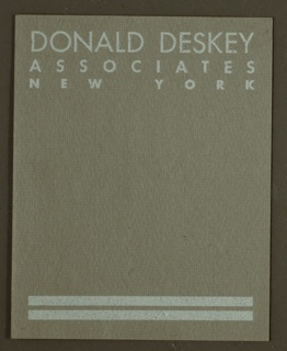 Ephemera, Donald Deskey Associates Label