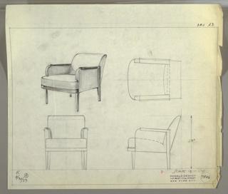 Drawing, Armchair, Upholstered, September 30, 1933