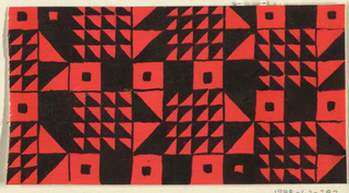 Geometric pattern consisting of a grid of squares and triangles forming squares in black and red.