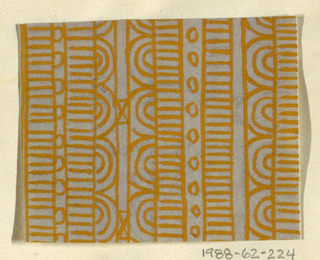 Geometric line pattern in ochre and gray conisisting of consecutive alternating rows of vertical lines, ovals, arcs, bowties, bulls-eyes, and flowers.