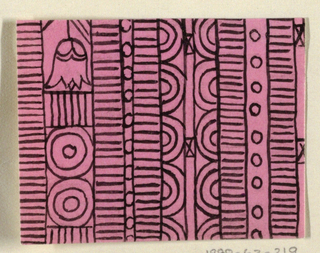 Geometric line pattern in pink and black conisisting of consecutive alternating rows of vertical lines, ovals, arcs, bowties, bulls-eyes, and flowers.