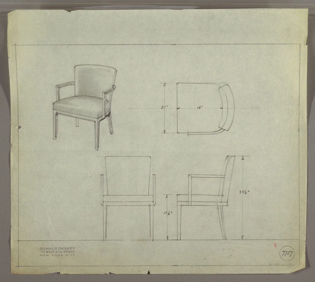 Drawing, Armchair, Upholstered, 1929–1934