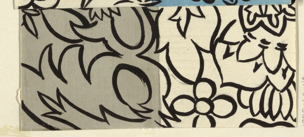 Alternating cream and gray ground with a black pattern of flowers and column-like forms