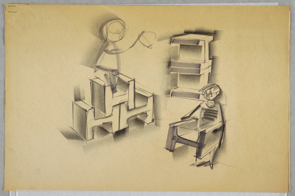 Design for children's stackable, blow-molded chairs. At left, perspective shows three H-shaped plastic chairs stacked pyramid-style with a child figure standing atop them. At lower right, perspective showing child in the process of picking up and moving a single chair. Above, at right, two chairs seen stacked on their sides. Stapled to other designs.