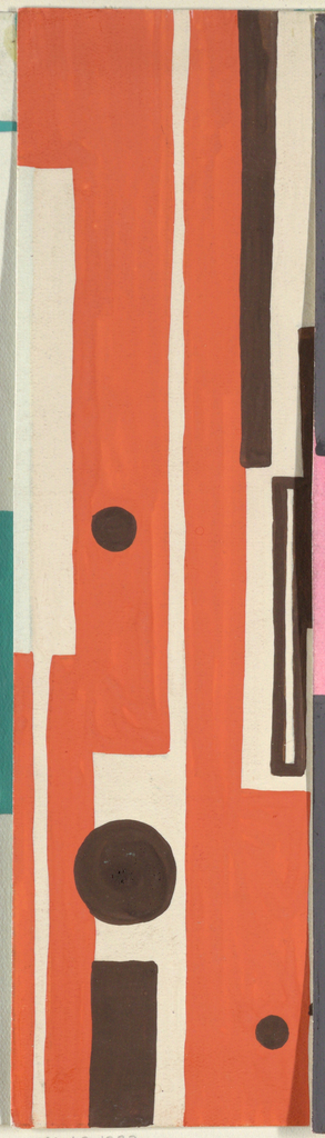 Striped pattern of irregular vertical rectangles with scattered circles in orange and brown.