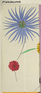 Large abstracted blue and red  flower with circular and long thin bi-colored petals on short stem with three floating bi-colored zinnia type flowers on short stem.  All on light taupe background.