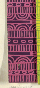 Geometric line pattern in pink and plum conisisting of consecutive alternating rows of vertical lines, ovals, arcs, bowties, bulls-eyes, and flowers.