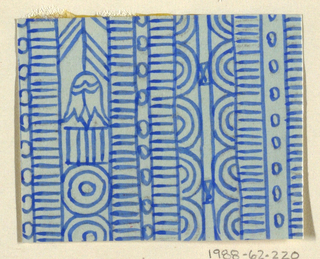 Geometric line pattern in cobalt blue and light blue conisisting of consecutive alternating rows of vertical lines, ovals, arcs, bowties, bulls-eyes, and flowers.