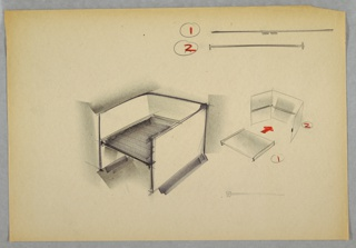 Design for blow-molded plastic, snap-together chair for Union Carbide. At center, perspective shows planar chair with three identical panels comprised sides and back; these have groove at half-height into which the seat slides. At right, perspective diagram shows assembly process; above, detail of snap-together components. Below right, incomplete sketch of similar detail.