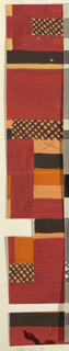 Brick red ground with geometric forms, rectangular color blocking in black, orange, white, and butterscotch.