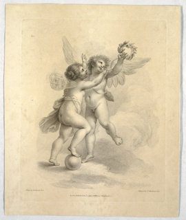 Two putti tussling over a laurel wreath.