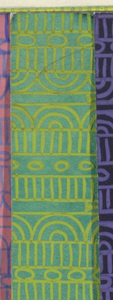 Geometric line pattern in lime green and green conisisting of consecutive alternating rows of vertical lines, ovals, arcs, bowties, bulls-eyes, and flowers.