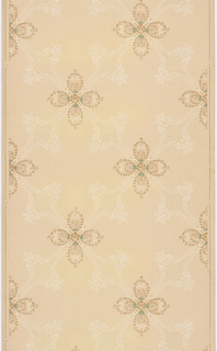 Four petal quatrefoils are placed at intersections of white trellis pattern created by foliate scroll work containing sections of polka dot grid. Design is printed in metallic gold, white and green on beige background.