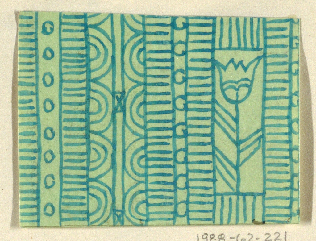 Geometric line pattern in green and light green conisisting of consecutive alternating rows of vertical lines, ovals, arcs, bowties, bulls-eyes, and flowers.