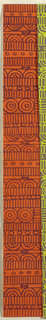 Geometric line pattern in orange and brown conisisting of consecutive alternating rows of vertical lines, ovals, arcs, bowties, bulls-eyes, and flowers.