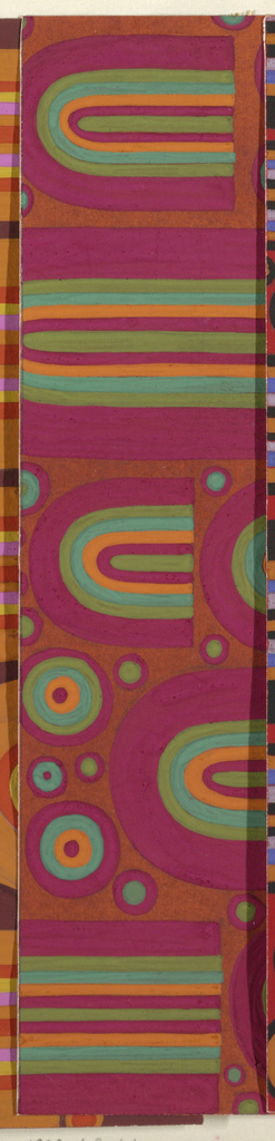 Abstract pattern of circles and U-shapes arranged in a closely placed horizontal alignment. Shapes are built up of overlapping colors of varying thickness in rust, maroon, green, and orange