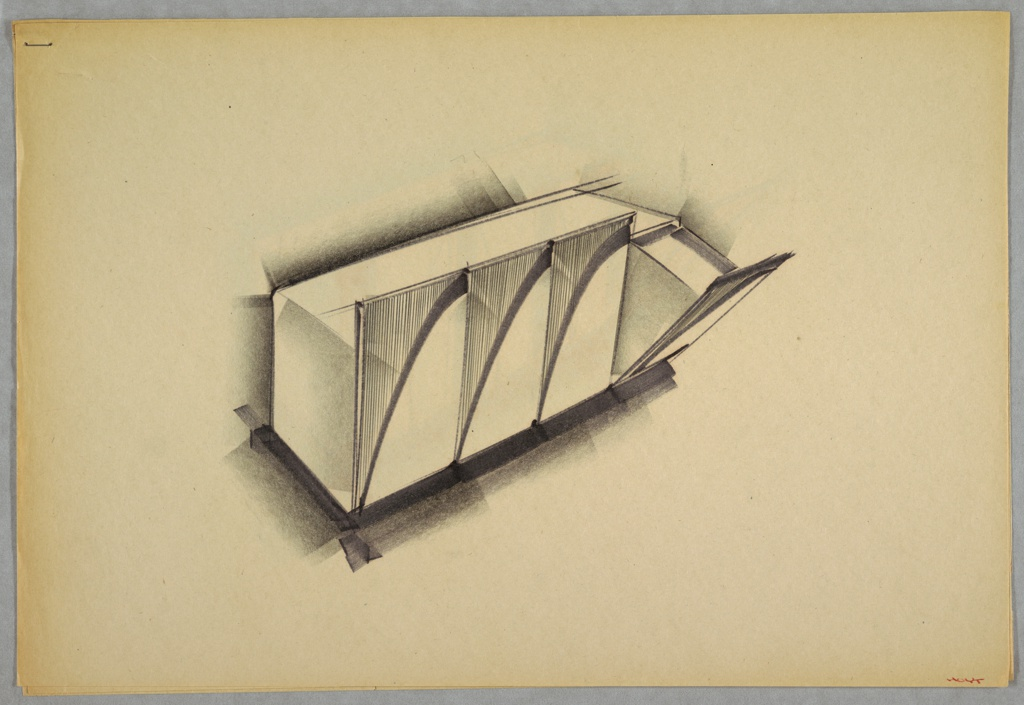 Design for set of blow-molded plastic storage bins. At center, perspective shows four pull-out bins. Primary rectangular volume houses four separate bins accessed by pulling the front plane down at front. Fronts ornamented or textured with vertical striations at upper left, a swooping line, and blank plane below. Stapled to additional drawings.