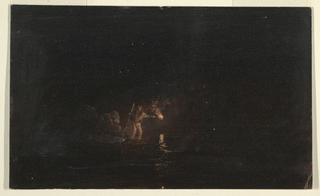 Horizontal drawing of  a single figure, knee-deep in water, holds a torch before him and steadies himself with a staff.  Either night fishing scene, or interior of a cave.