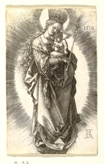 The Virgin and Child are represented standing on a crescent moon. She faces the spectator, her figure turned slightly to the right. She holds the Child on her left arm, and a scepter in her right hand; on her head a crown with stars.
