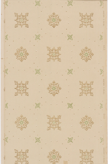Alternating square and diamond shape foliate medallions are surrounded by borders of pearl-like dots and interspersed with small, light green decorations. Larger pattern is printed over an allover grid of small dots. Design is printed in light browns and greens over beige.