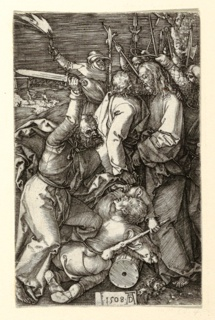 Tumtultuous, nocturnal, outdoor scene: two men fight in the foreground, one wielding a sword and the other a club. To the right, two men embrace, while soldiers brandish weapons and torches behind them, and one raises a rope as if to capture one of the standing figures, Christ. In the backgound, one figure chases another in a hilly landscape. Signed 1508 AD.