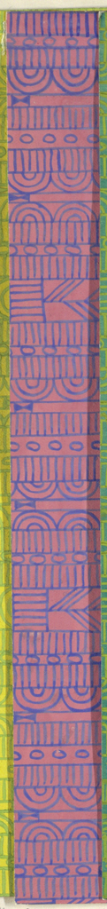 Geometric line pattern in pink and blue conisisting of consecutive alternating rows of vertical lines, ovals, arcs, bowties, bulls-eyes, and flowers.
