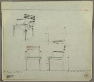 Drawing, Armchair, Upholstered