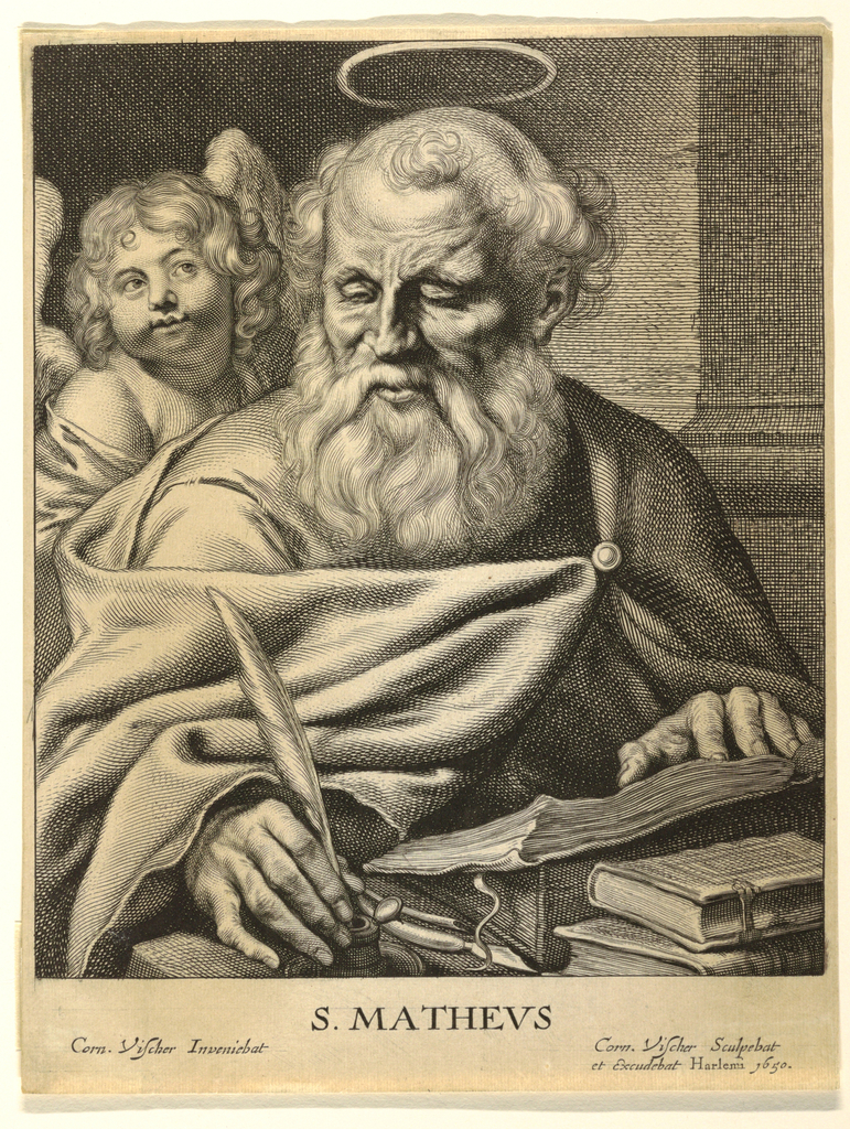 St. Matthew is presented in three-quarter view seated at a desk writing his gospel. In his right hand he holds a quill and his left hand rests on an open book. He is accompanied by his attribute, a young angel who appears at left, just behind the Saint's shoulder.