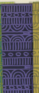Geometric line pattern in blue and dark blue conisisting of consecutive alternating rows of vertical lines, ovals, arcs, bowties, bulls-eyes, and flowers.