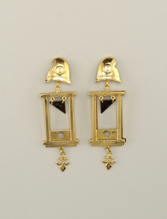 Pair of earrings in the shapes  of guillotines.