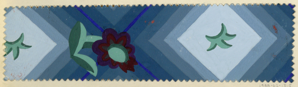 Repeating diamond shapes with leaf motif in middle and brown and purple daisy flower in between on turquoise background. Pinked edges.