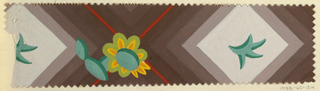Repeating diamond shapes with leaf motif in middle and green and yellow daisy flower in between on mauve-gray background. Deckle edges.