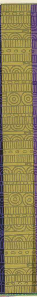 Geometric line pattern in ochre and green conisisting of consecutive alternating rows of vertical lines, ovals, arcs, bowties, bulls-eyes, and flowers.