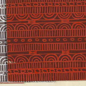 Geometric line pattern in red and brown conisisting of consecutive alternating rows of vertical lines, ovals, arcs, bowties, bulls-eyes, and flowers.