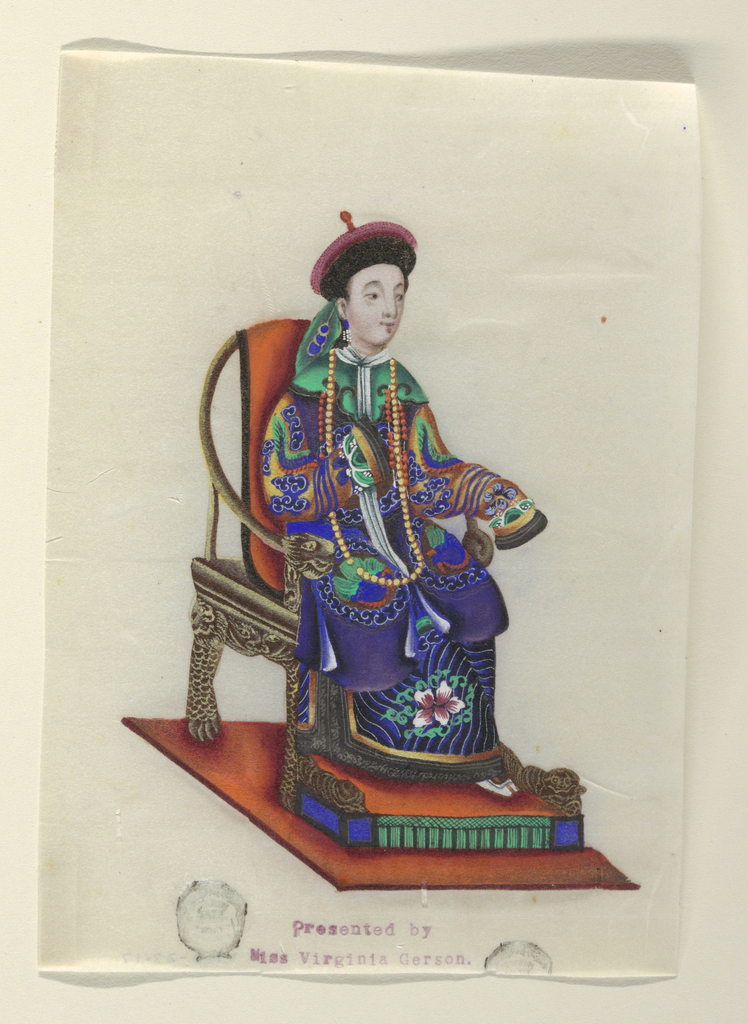 A seated lady of quality, facing half-right, wearing long beads and an elaborately embroidered robe.