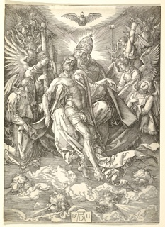 The limp body of Christ ascends above clouds, guided by the crowned, bearded, and robed figure of God, beneath an open-winged bird, flanked on either side by groups of winged angels bearing the Instruments of the Passion. Anthropomorphized as human heads, the winds blow in four directions, below. Signed 1511, AD at bottom center.