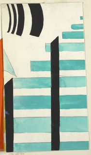 White ground with aqua horizontal stripes and black vertical stripes with curved black stripes of varying thickness.