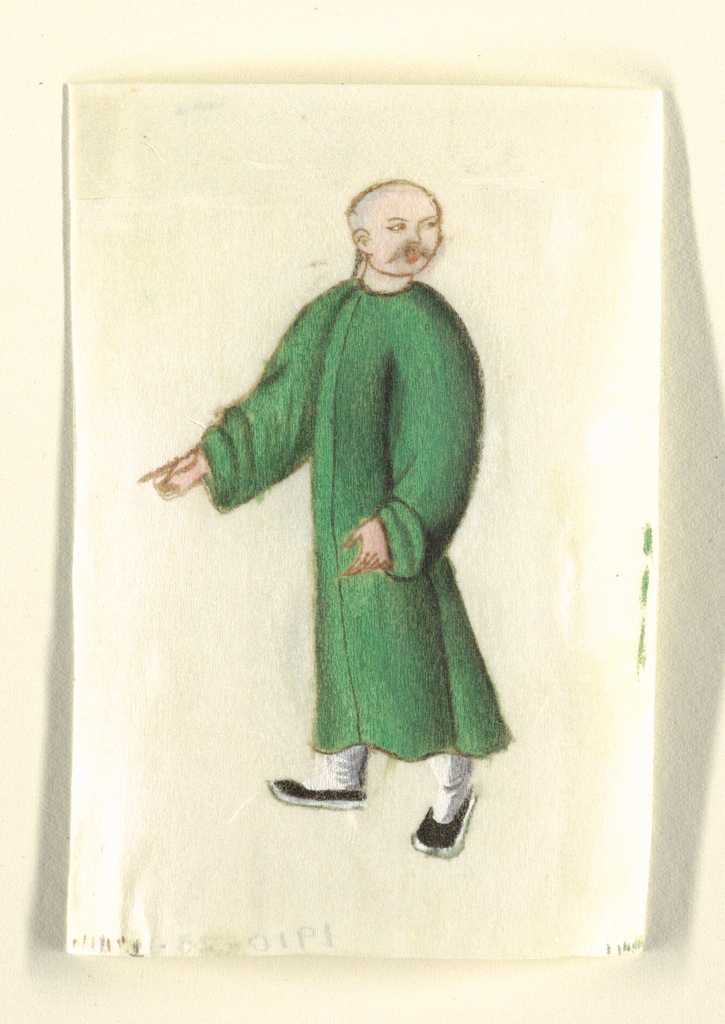 A standing peasant, walking left, his gaze directed over his left shoulder, wears a long green tunic, and head shaved.