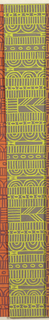 Geometric line pattern in yellow and gray conisisting of consecutive alternating rows of vertical lines, ovals, arcs, bowties, bulls-eyes, and flowers.