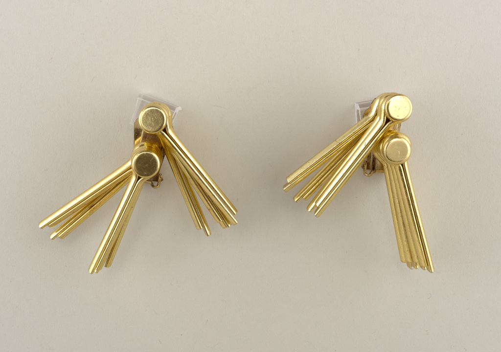 Pair of earrings made from gold anodized aluminum cotter pins.