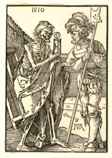 "Two standing figures at the foreground within a black border; at left, the character of death as a skeleton in robes, presents the Lansquenet, right, with an hourglass. Dated 1510 at upper left, signed ""AD"" lower right."