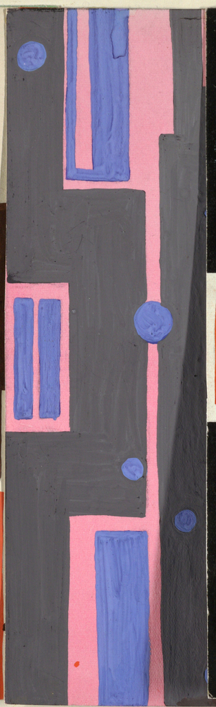 Striped pattern of irregular vertical rectangles with scattered circles in gray, pink, and blue.