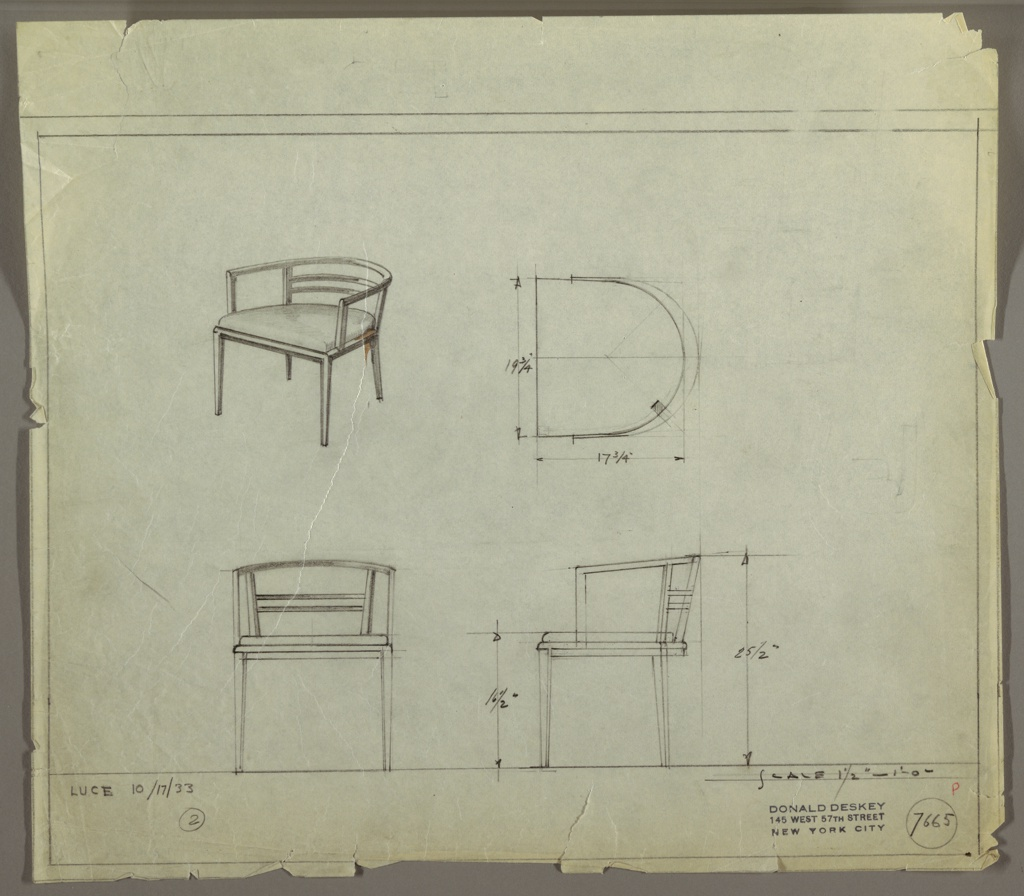 Drawing, Armchair, Upholstered, October 17, 1933