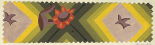 Repeating diamond shapes with leaf motif in middle and orange daisy flower in between on green and yellow background. Pinked edges.