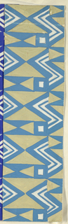 Geometric zigzag pattern punctuated with squares; here, a partial view of diamond and triangle forms in blue, green, and white.