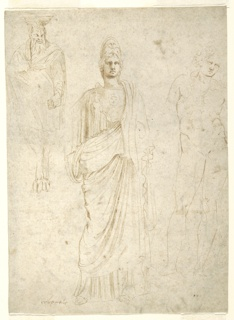Three sculptural figures; a standing senator on left, study for headless and armless Minerva in center, and sketch of a reclining nude figure on right.