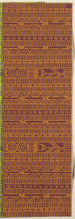Geometric line pattern in orange and burgundy conisisting of consecutive alternating rows of vertical lines, ovals, arcs, bowties, bulls-eyes, and flowers.