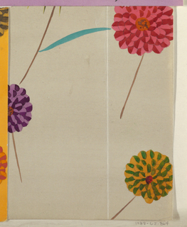 Four scattered blossoms on white ground; three with rounded petals in pink, red, purple, and orange.